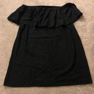 Old Navy Black Linen Off the Shoulder Dress